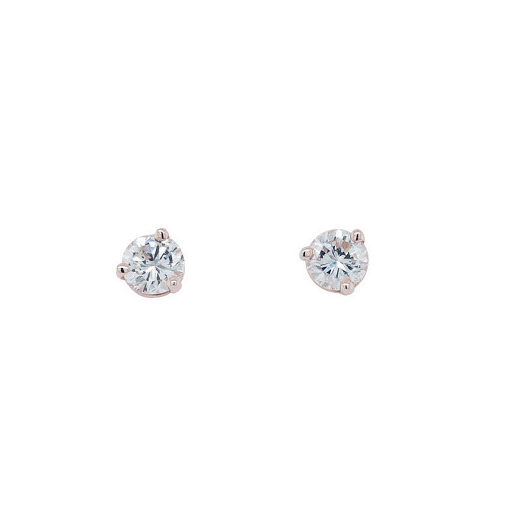 0.46cttw Round Diamond Stud Earrings, 14k Rose Gold