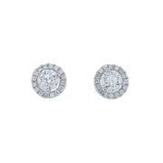 0.49cttw Round Diamond Halo Studs