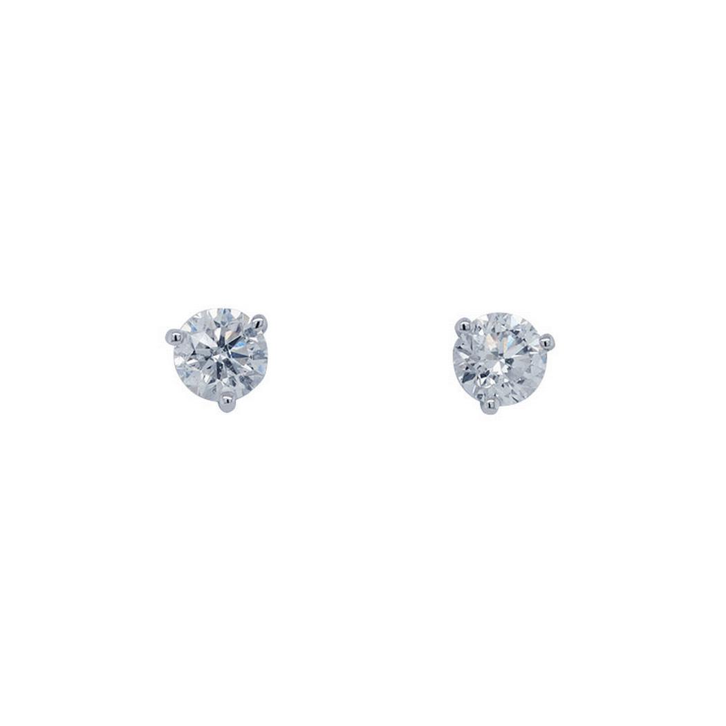 0.82cttw Round Diamond Studs, Three Prongs