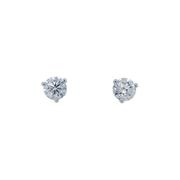 Round Diamond Studs, Three Prongs