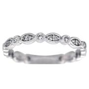Diamond Bezel Vintage Style Band - 14k White Gold