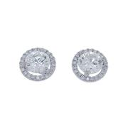 1.42cttw Round Halo Stud Earrings