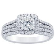 1.01ct Round Diamond Halo Engagement Ring, Four Row Band