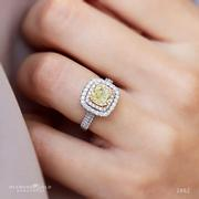 Fancy Yellow Cushion Double Halo Engagement Ring