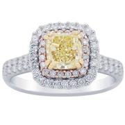 1.70ct Fancy Yellow Cushion Double Halo Engagement Ring