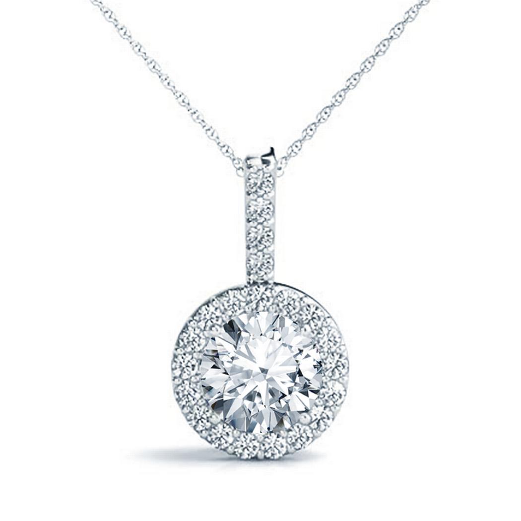 14k Round Halo Diamond Pendant, 1/8ctw