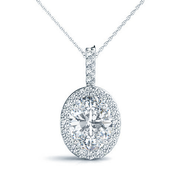 14k Oval Diamond Halo Pendant, 1/6ctw