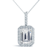 14k Emerald Diamond Halo Pendant, 1/6 ctw