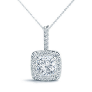 14k Cushion Diamond Halo Pendant, 1/5ctw
