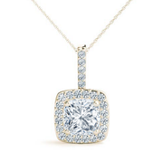 Cushion Diamond Halo Pendant