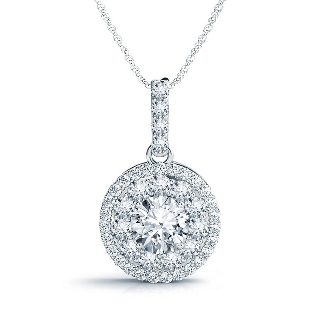 14k Round Diamond Double Halo Pendant, 3/4ctw
