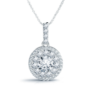 14k Round Diamond Double Halo Pendant, 3/4ctw