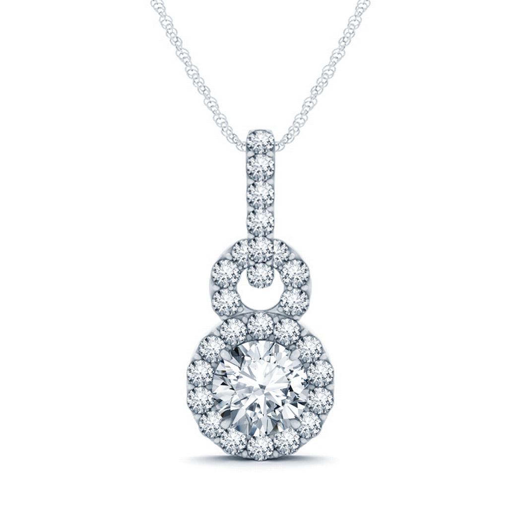 14k Fashion Halo Diamond Pendant, 1 3/8ctw