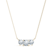 14k Round Diamond Three Stone Pendant