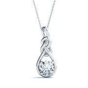 14k Round Diamond Love Knot Pendant