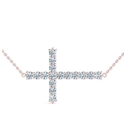 Diamond Cross Pendant- East/West Style
