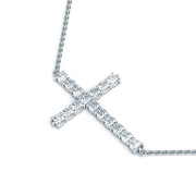 14k Horizontal Diamond Cross Necklace, 1/4ctw