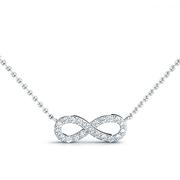 14k Infinity Diamond Pendant, 1/10ctw