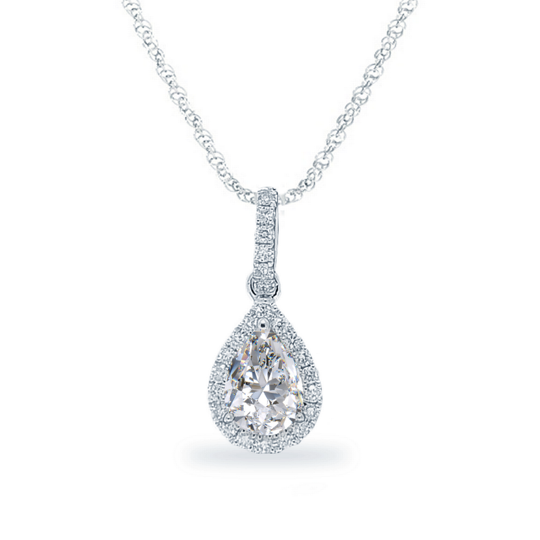0.60ctw Pear Diamond Halo Necklace, 18k White Gold