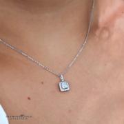0.70ctw Princess Diamond Halo Necklace, 18k White Gold