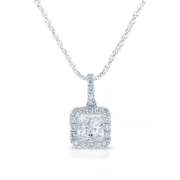 0.70ctw Princess Diamond Halo Necklace, 18k White Gold