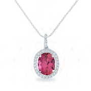 2.55ct Oval Pink Tourmaline, 18k White Gold