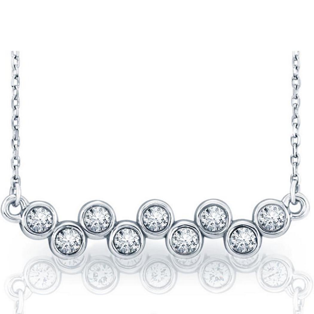 14k Gold 1/2ctw Diamond Bezel-Set Necklace 16-18