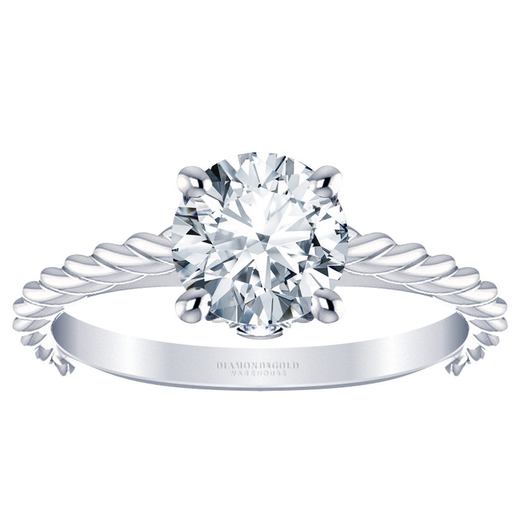 Braided Solitaire Engagement Ring with Diamond Accents