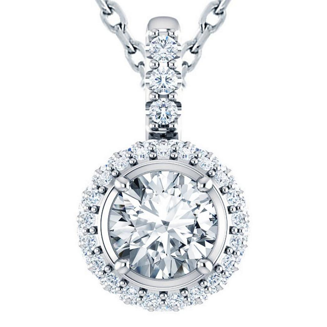 Round Double Halo Diamond Pendant