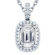 Emerald Double Halo Diamond Pendant
