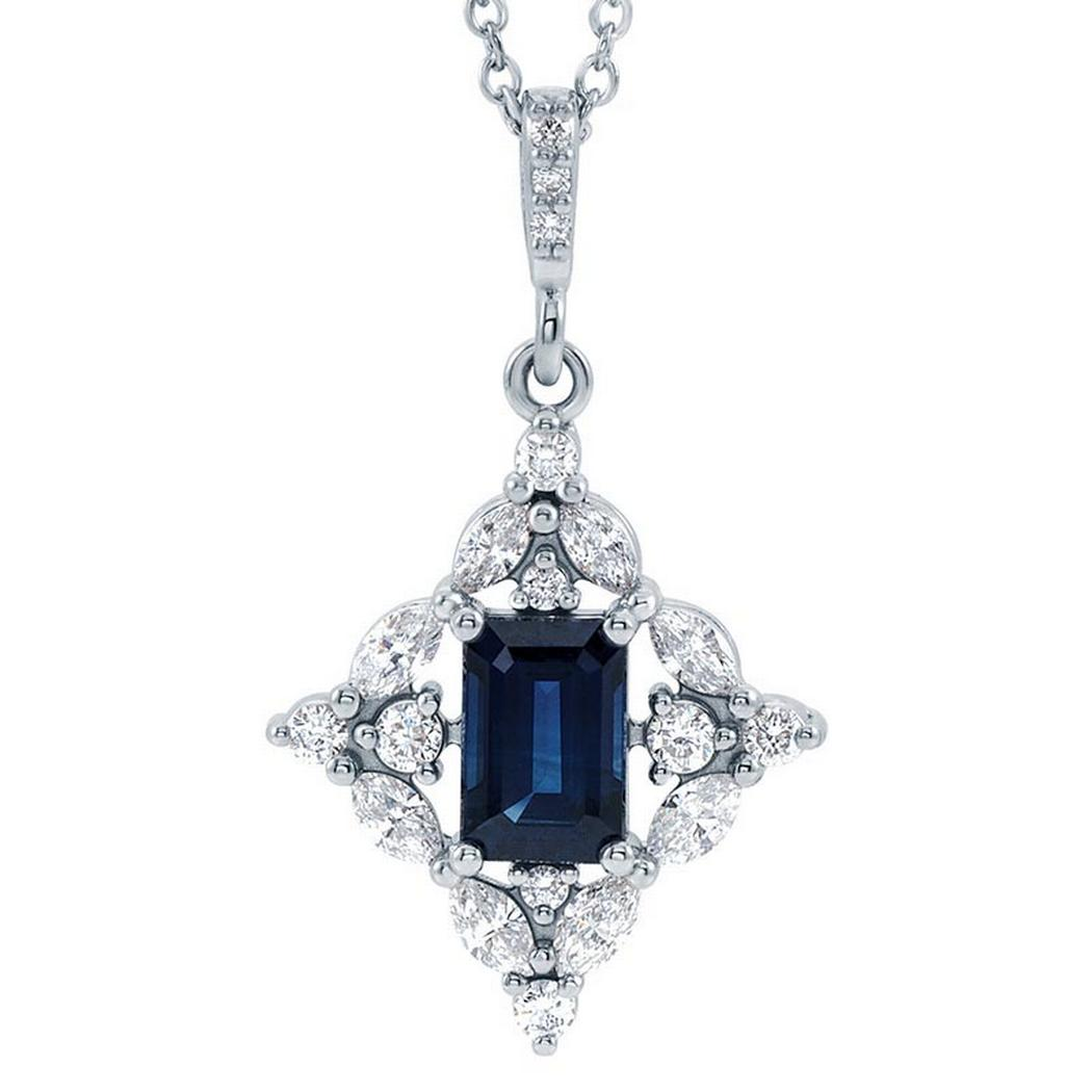 Sapphire and Diamond Necklace 3/8 ctw
