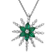Diamond and Emerald Star Burst Necklace