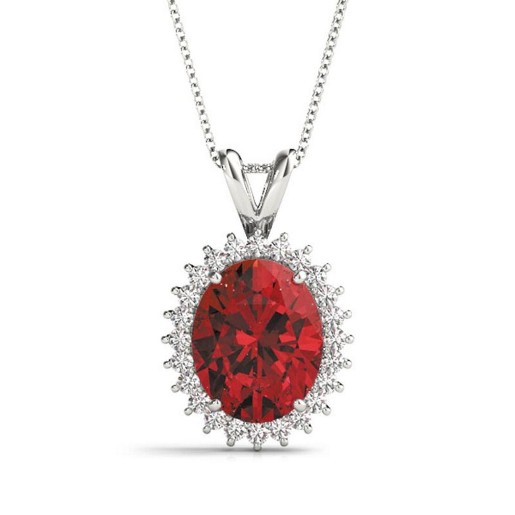 Oval Ruby Diamond Halo Necklace