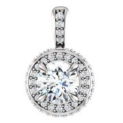 Round Diamond Metal Edge Double Halo Pendant