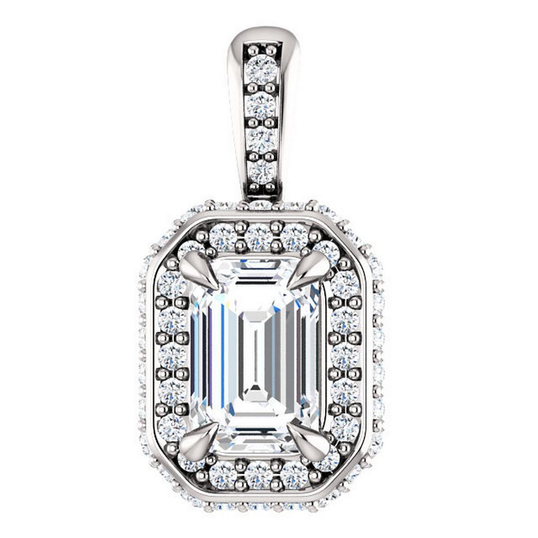 Emerald Diamond Double Halo Pendant