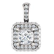 Princess Diiamond Metal Edge Double Halo Pendant