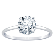 Round Diamond Solitaire Engagement Ring - Accent Diamonds