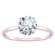 Thin Band Solitaire with Hidden Diamond Accents, Round Diamond