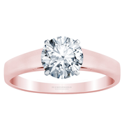 Wide Flat Band Solitaire Engagement Ring