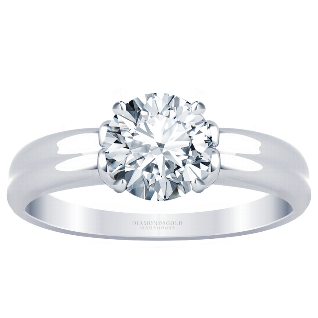 Double Ridge Diamond Solitaire Engagement Ring