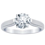Milgrain Edge Solitaire Engagement Ring