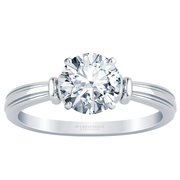 Engraved Tapered Solitaire Engagement Ring