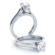 Flat Solitaire Engagement Ring, Inside Diamond Edges