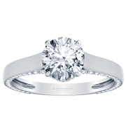 Flat Solitaire Engagement Ring, Inside Diamond Edges