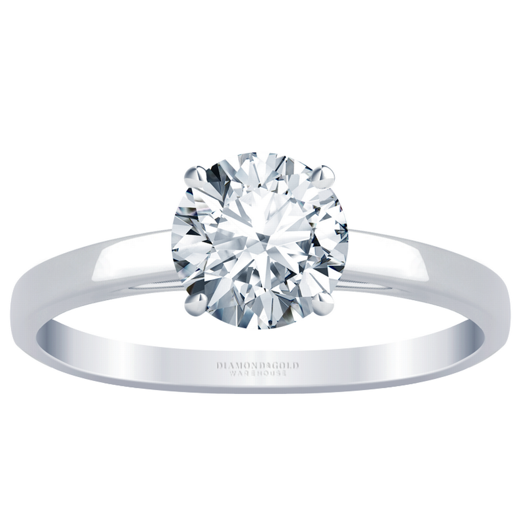 14k Flat Band Solitaire Engagement Ring