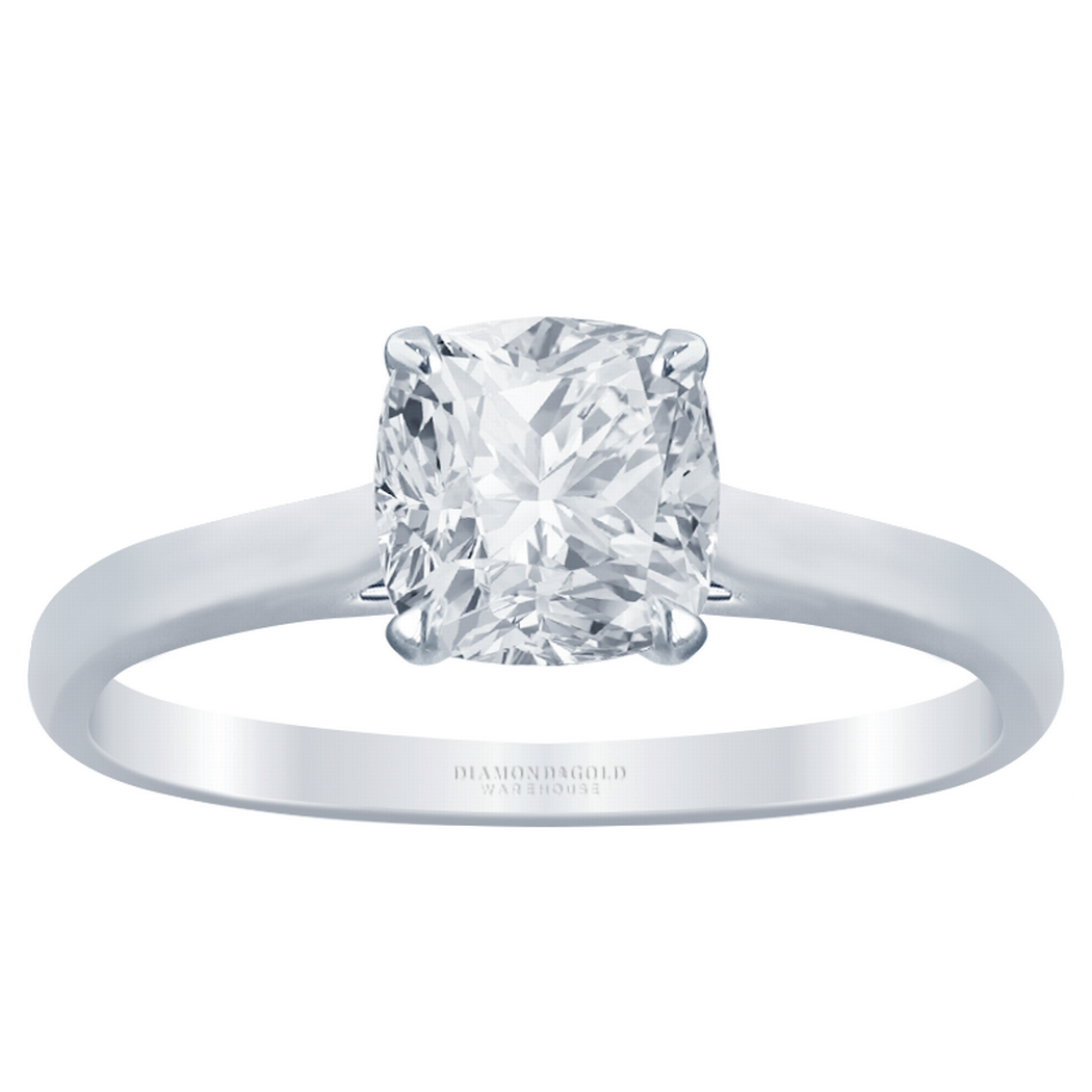 Cushion Diamond Cathedral Solitaire Engagement Ring