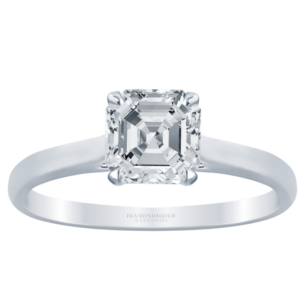 Asscher Diamond Solitaire Engagement Ring