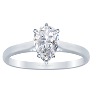 Pear Diamond 14k Cathedral Solitaire Engagement Ring