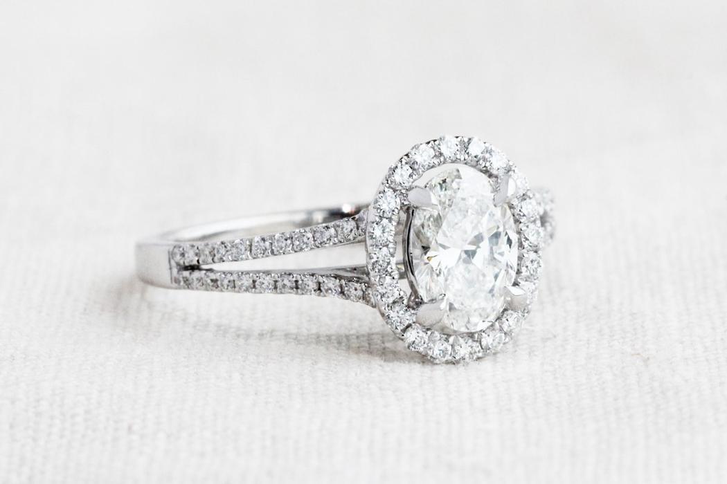 Oval Diamond Halo Split Engagement Ring