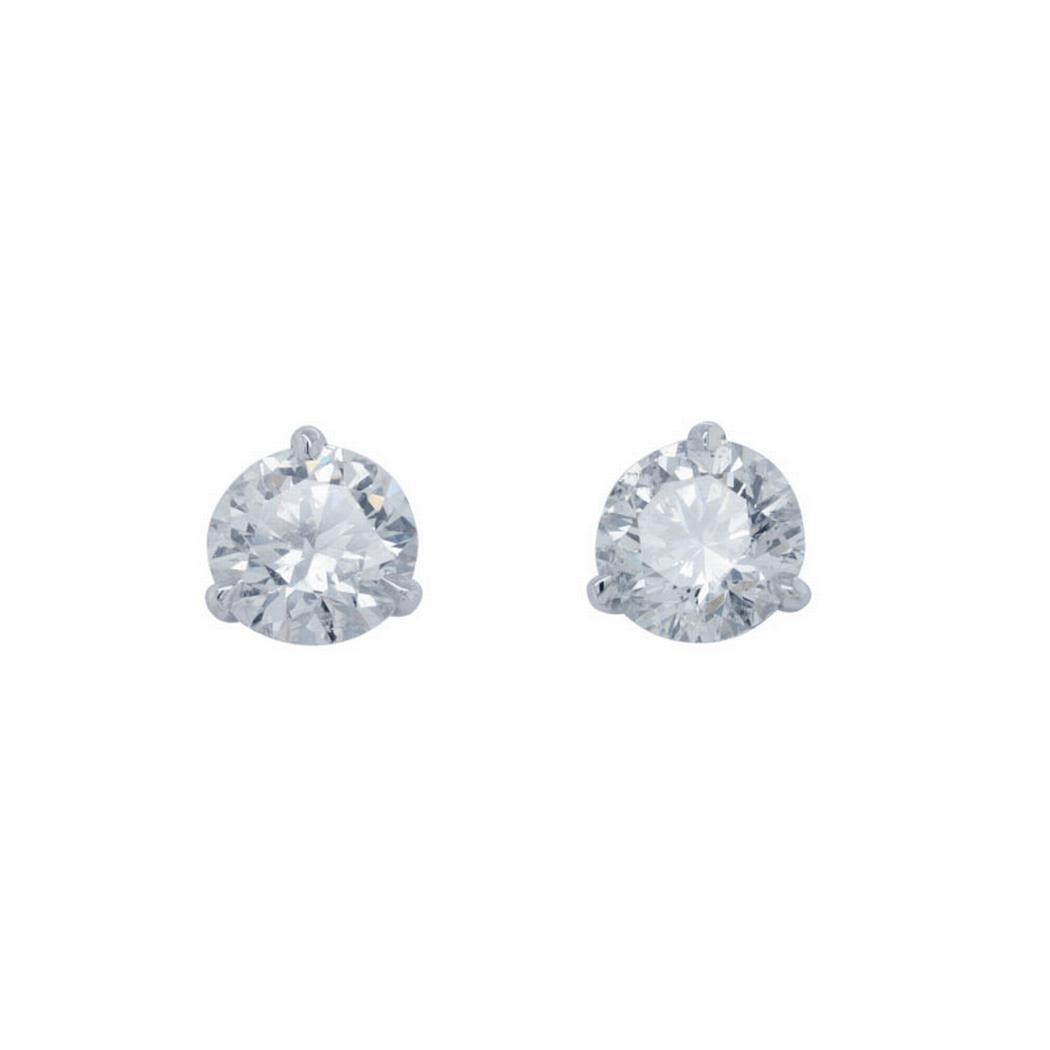 Round Diamond Stud Earrings 2.08 carat total weight